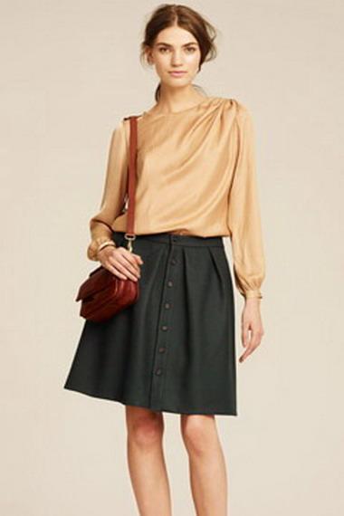 Длинная юбка для полных на осень