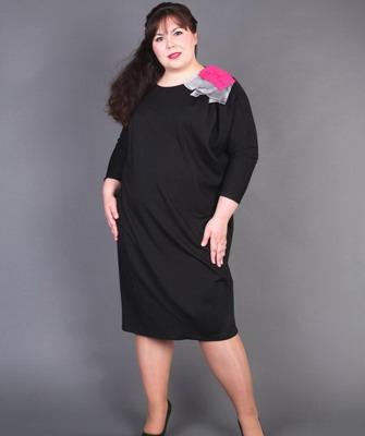 Платье для полных с цельнокроеным рукавом