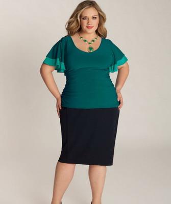Зеленые юбки для полных