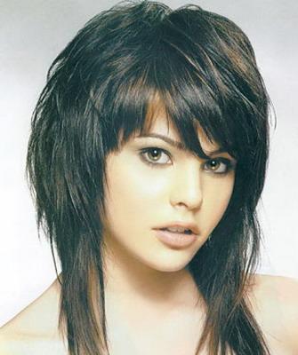объемная стрижка с челкой на длинные волосы фото