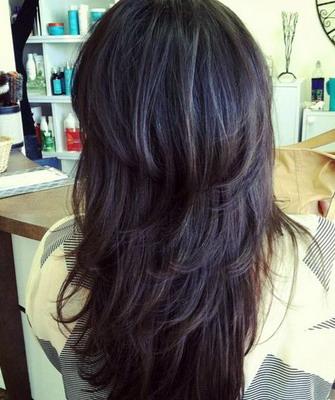 Каскад на длинные волосы лесенка