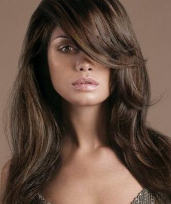 Удлиненная челка на длинные волосы