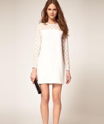 Платье молочное с серым