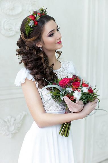Свадебная прическа длинный хвост
